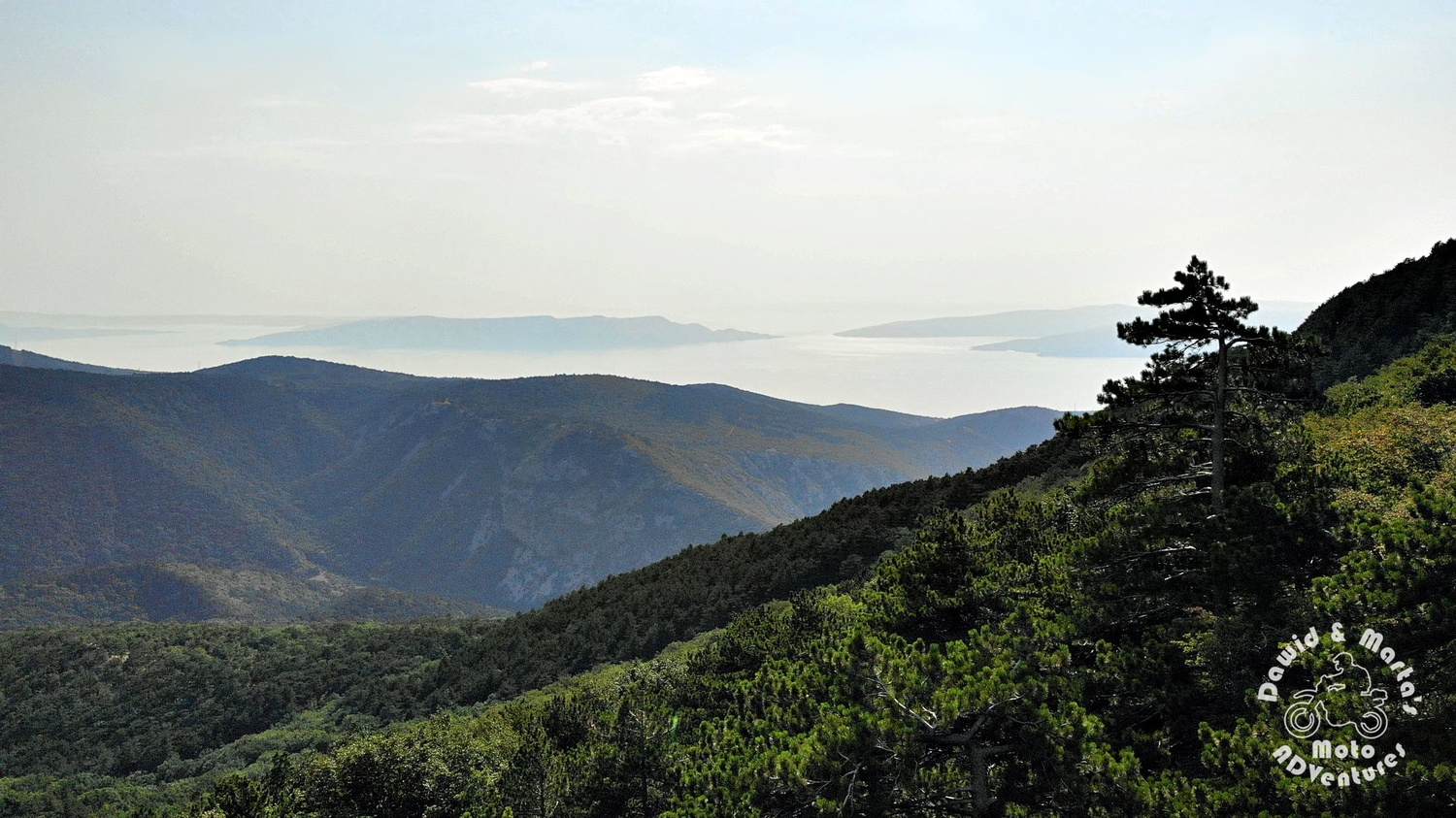 The Adriatic Sea glimpse from the top of the road 23 serpentines, Croatia