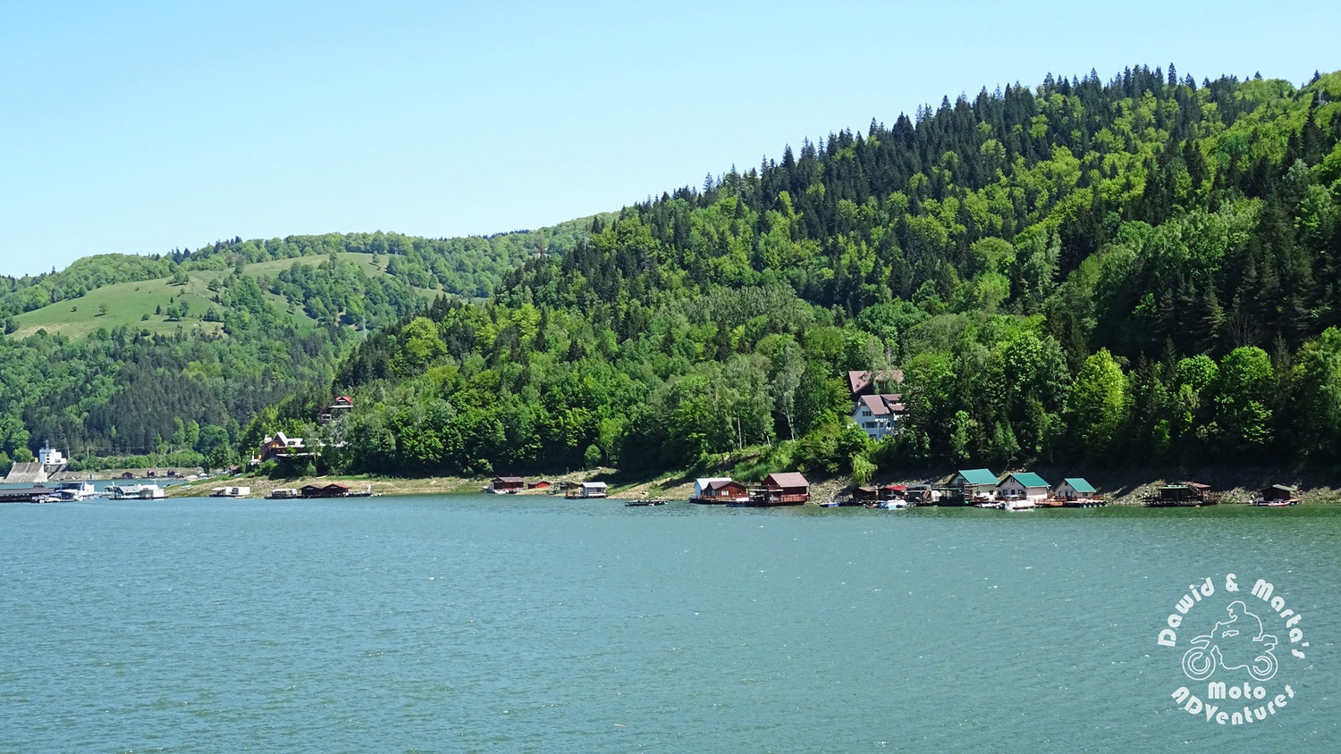 The Bicaz Lake coastline viewed from the Bicaz Dam