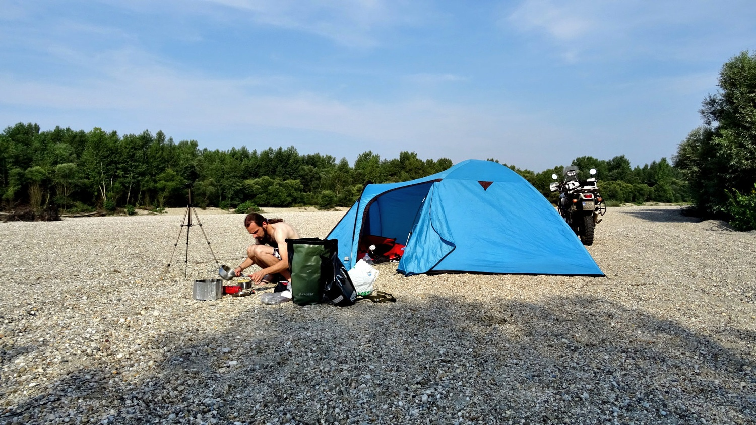 Cooking and camping with ten at the Drava River in Gornij Hrascan Croatia