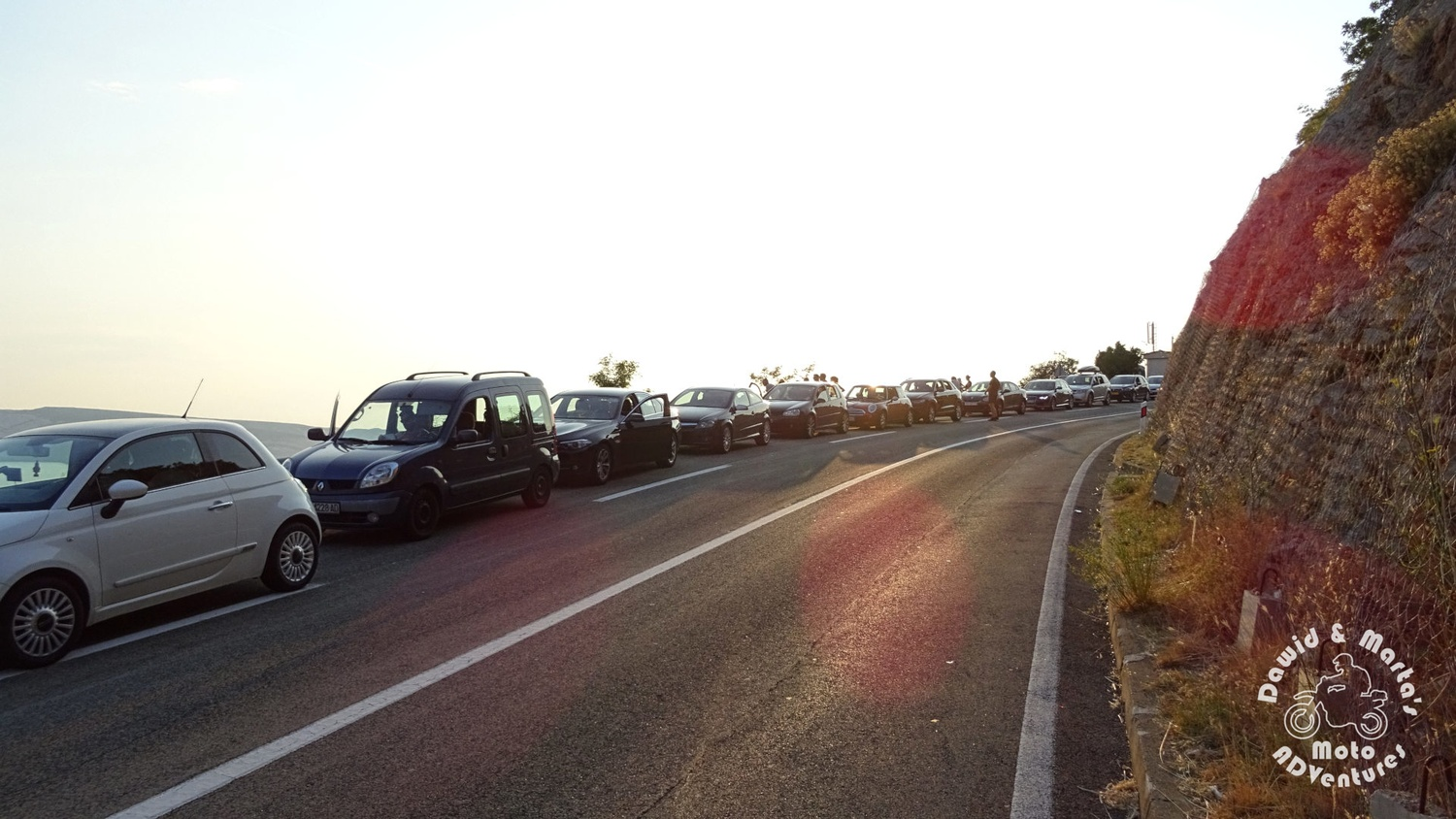 Queue to the ferry at the Prizna port - waiting to get to the Pag Island