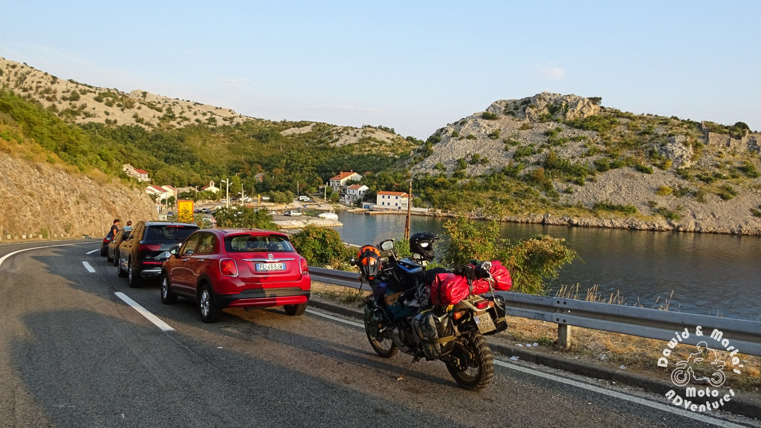 The queue to the ferry at the Prizna port - waiting to get to the Pag Island