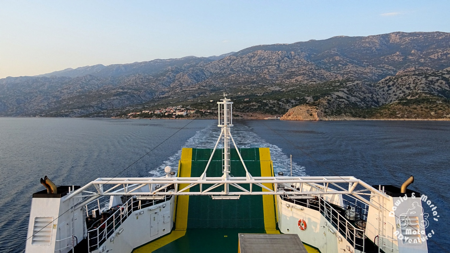 View from the ferry on the Prizna coast - getting to the Pag Island