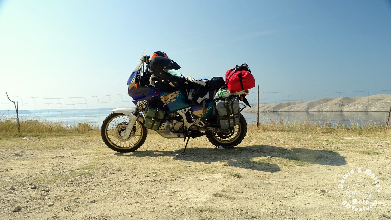 Africa Twin on the Pag Island shore