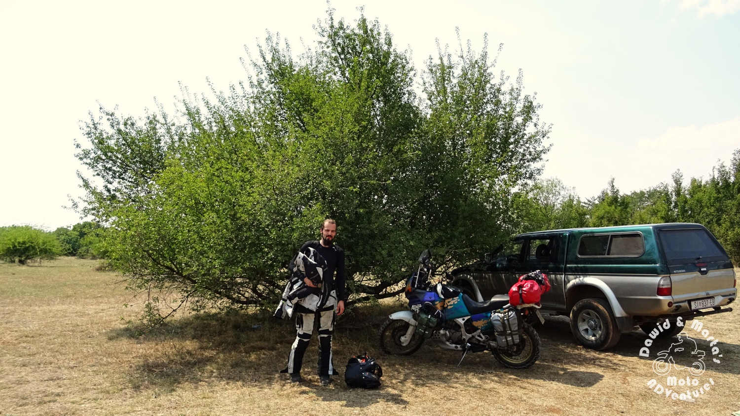 Africa Twin and Dawid at Krk National parking, inland Croatia