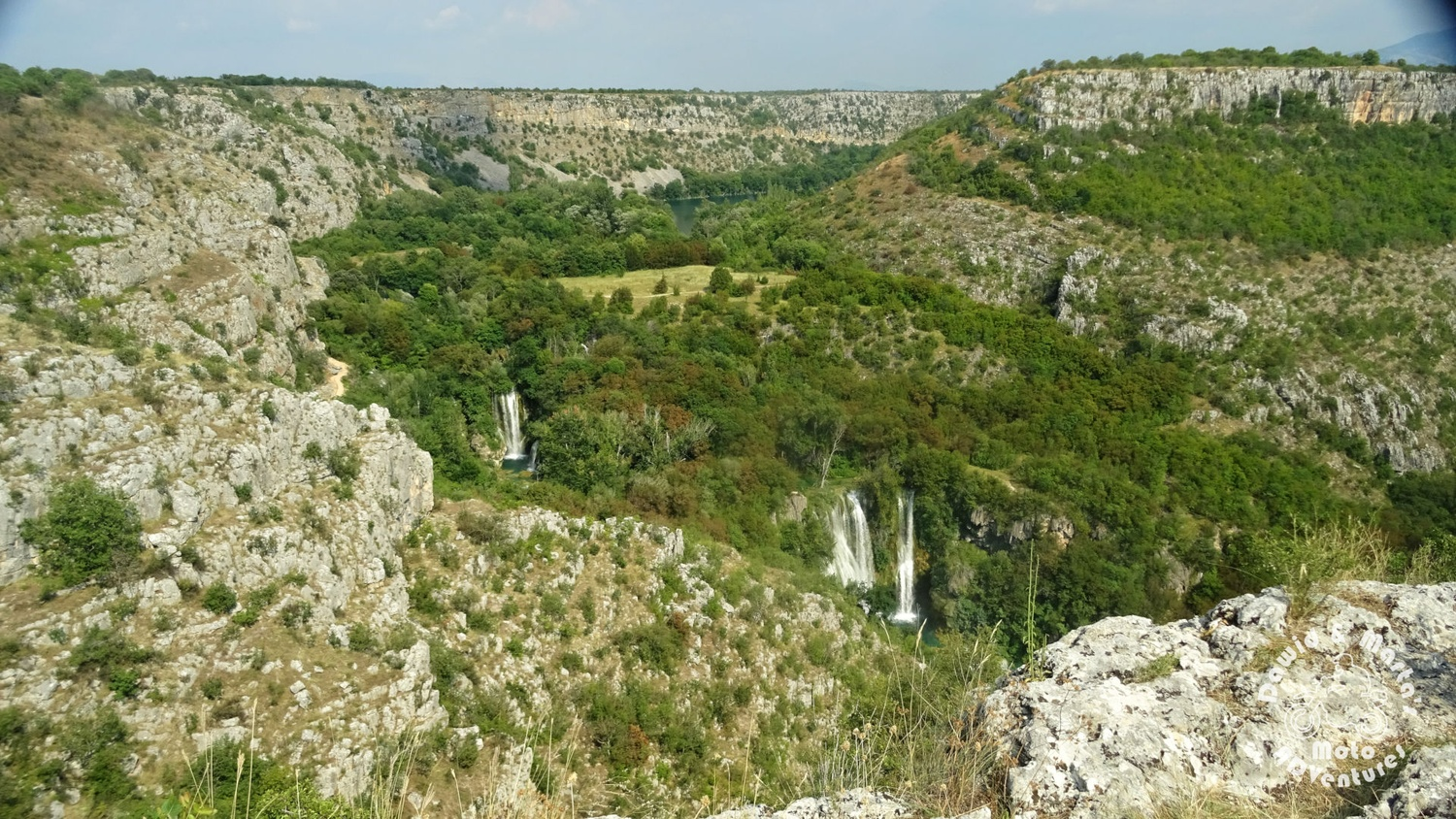 Waterfalls seen from the Krk River canyon top, inland Croatia