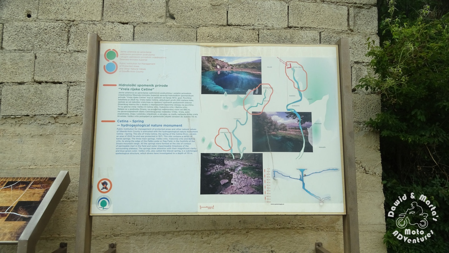 Information sign at the Cetina River spring