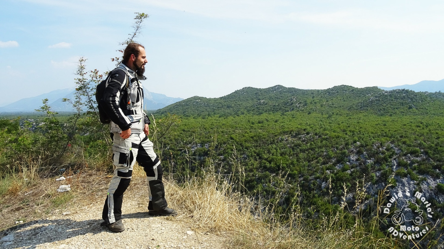 Motorcylist on the vantage point on the Cetina River canyon