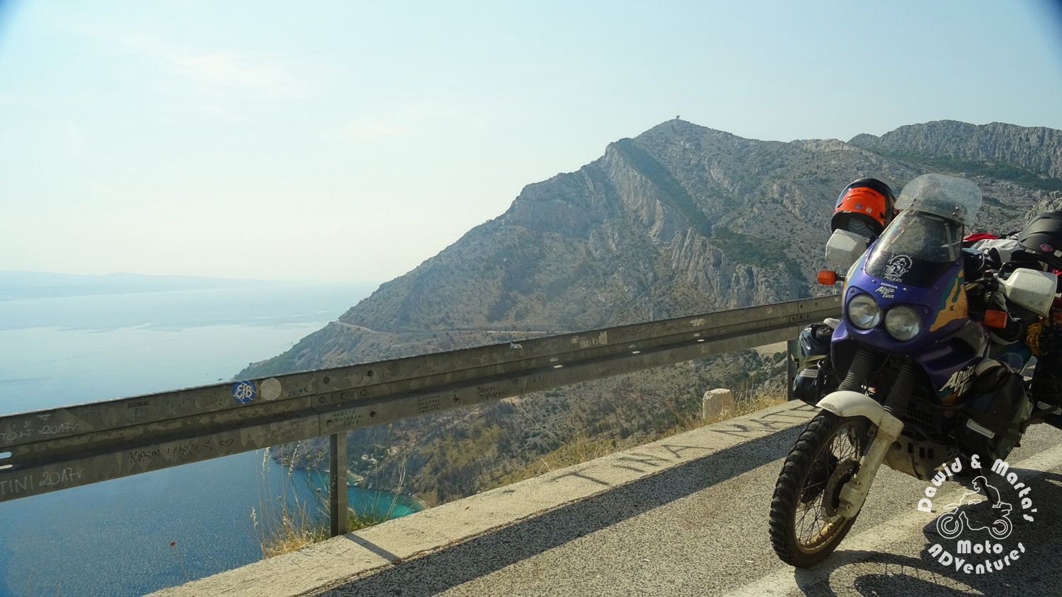 Lookout point at Cesta Domovinskog Rata in Croatia in Biokovo Nature Park with Africa Twin in the foreground