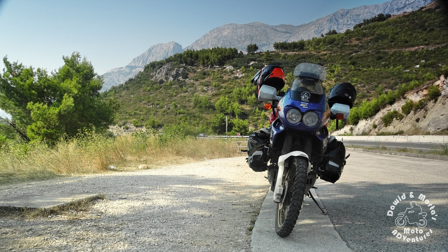 Africa Twin on the backround of the Biokovo mountains