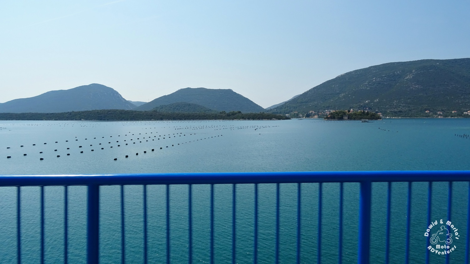 Bistrina Bridge and oysters farms in the sea