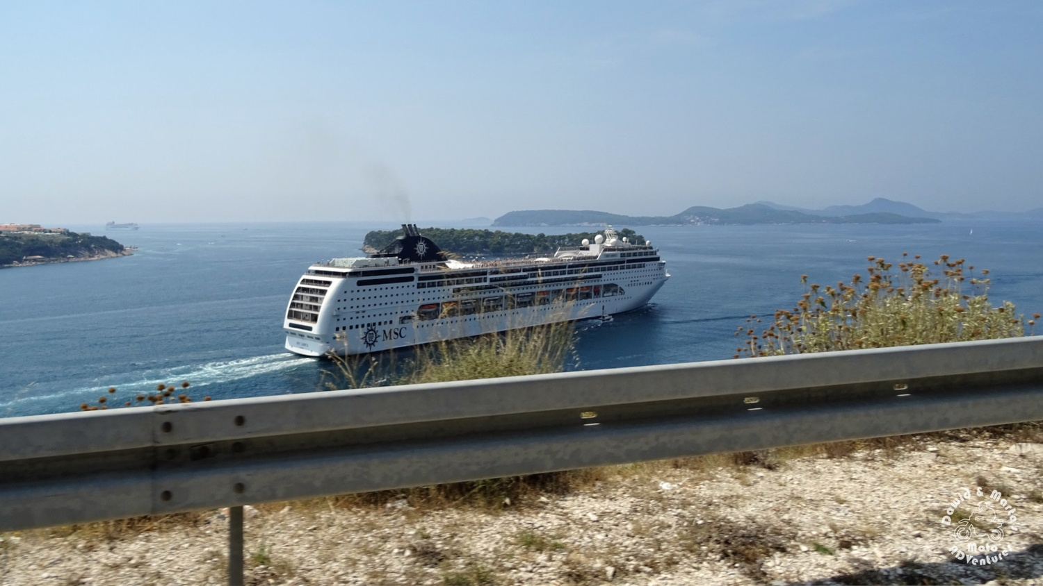Ship seen from Adriatic Highway in Lozica