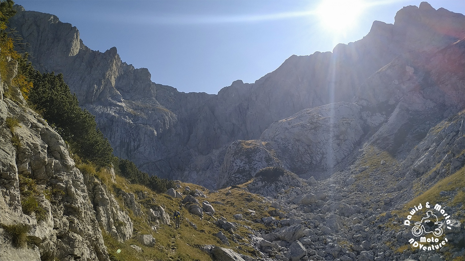 Hiking to shelter in Velika Kalica valley