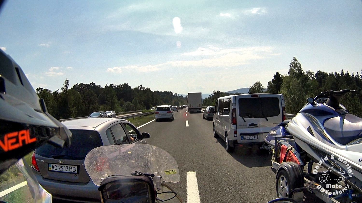 Traffic jam in the middle of nowhere, Croatia E65 road