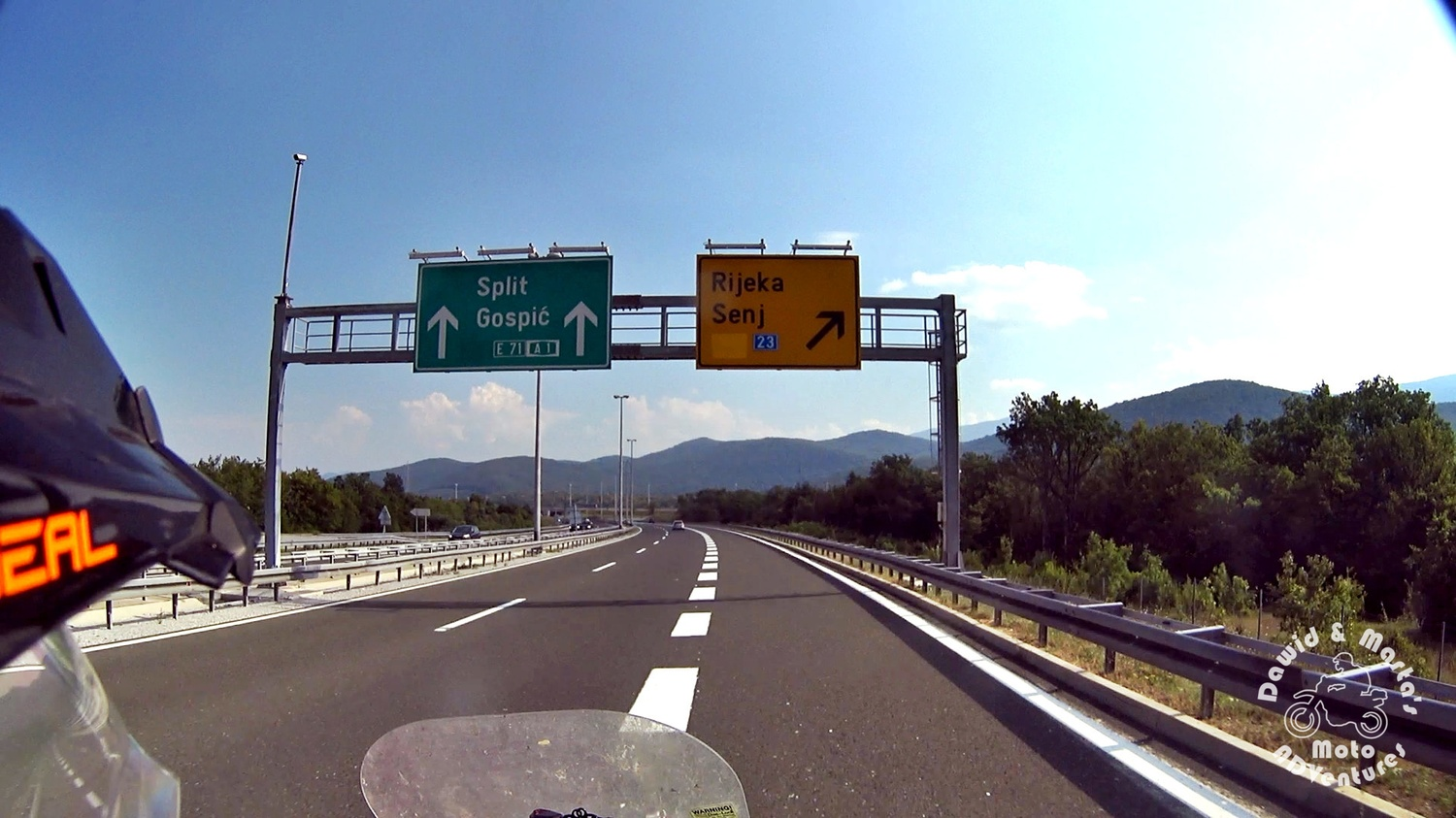Exit from E71 road to road 23 to Senj, Croatia
