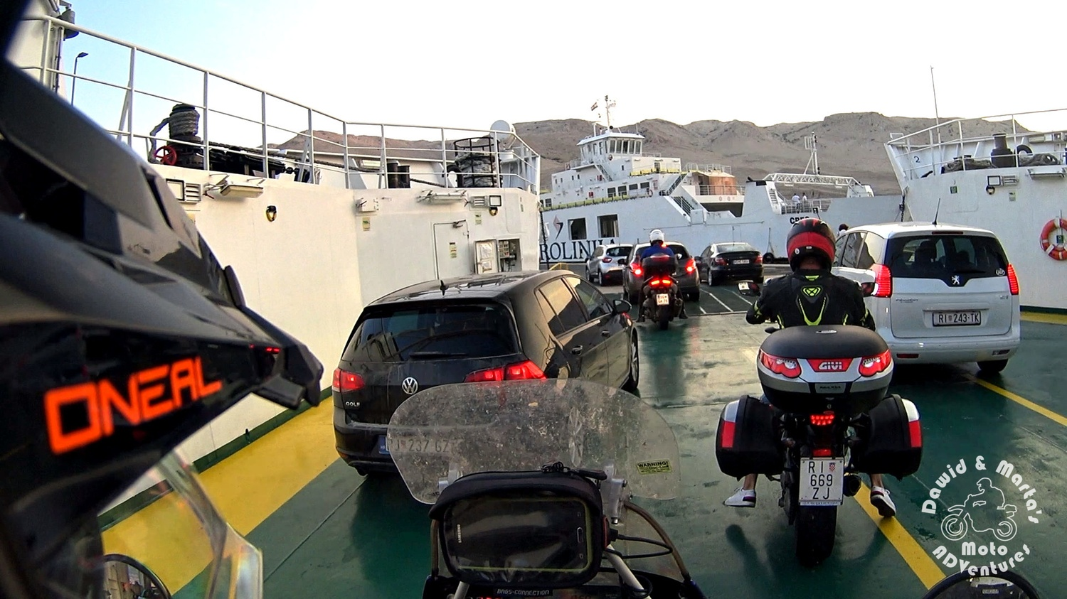 Getting off the board of the ferry crusing between Prizna and the Pag Island