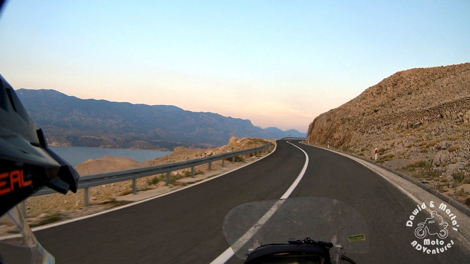 Pag Island road with the view on the continental Croatia and the Velebit mountains