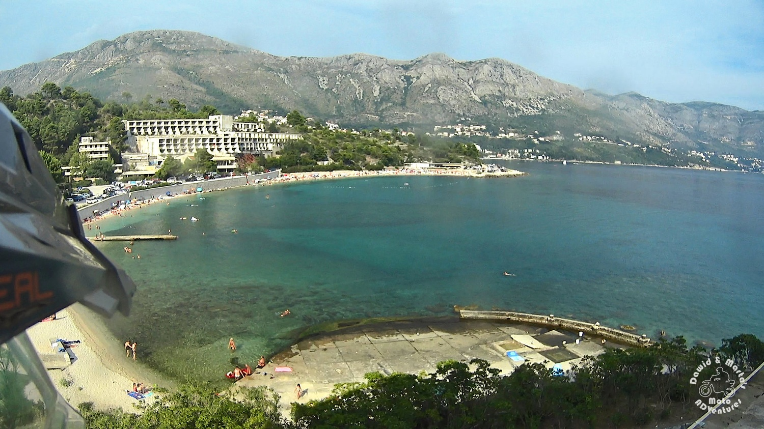 Kupari beach seen from the Pelegrin Hotel, Hotel Goričina II in the background