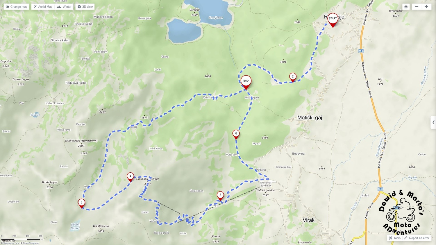 Our planned route to Savin Kuk top for hiking in Durmitor National Park