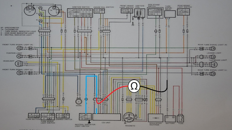 Neutral switch test setup on a wiring diagram of Suzuki DR 350S