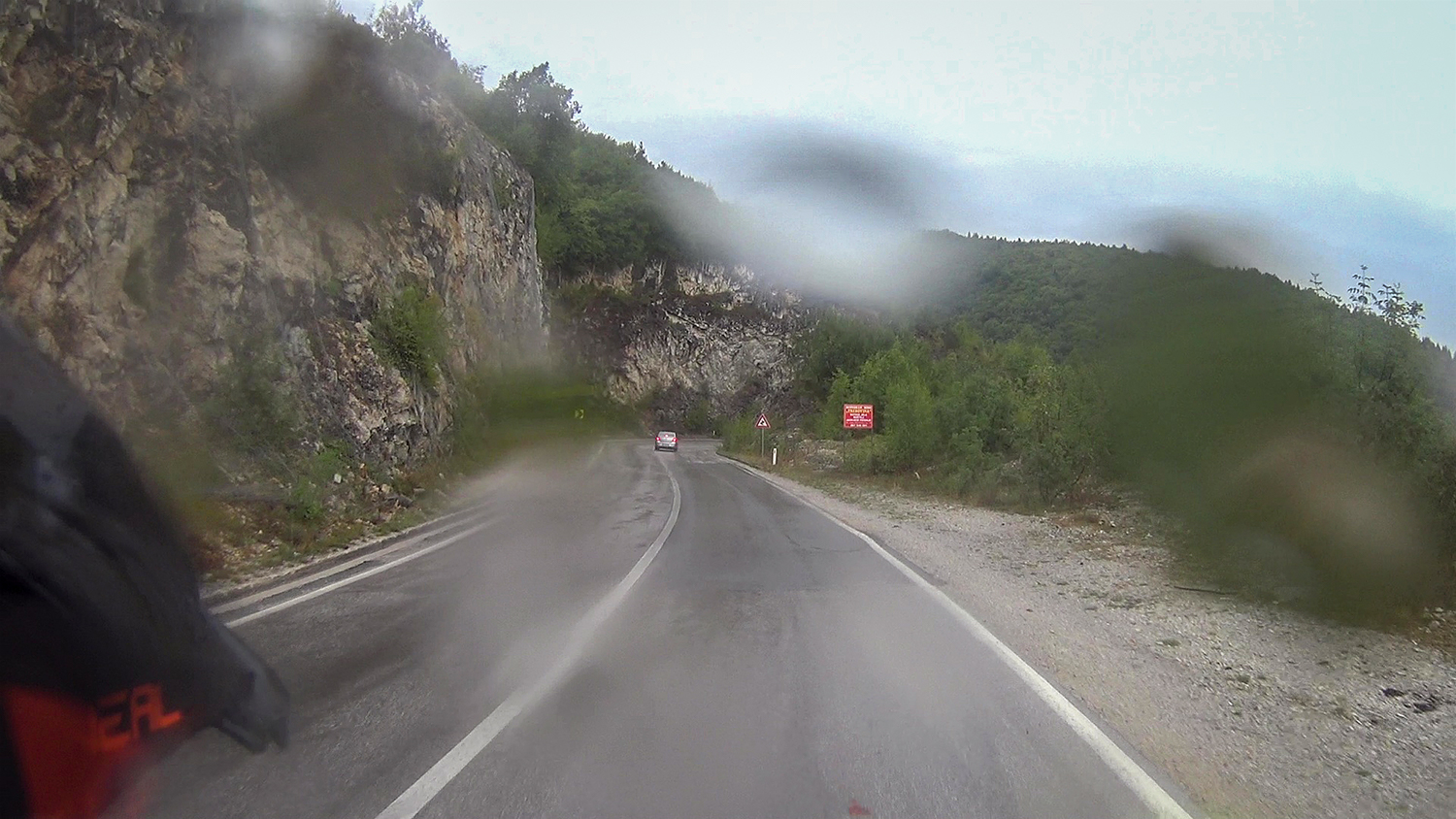 Rain on road P4 from Pljevlja to Zabljak